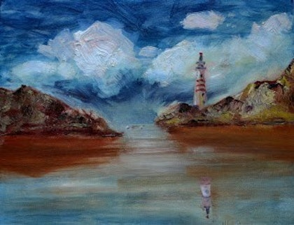 (CreativeWork) Lighthouse 1 by Ivan Fernandez. oil-painting. Shop online at Bluethumb.