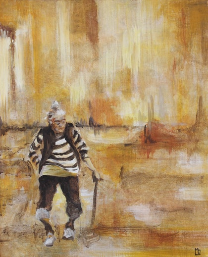 (CreativeWork) Walking with a stick II by MO -. arcylic-painting. Shop online at Bluethumb.