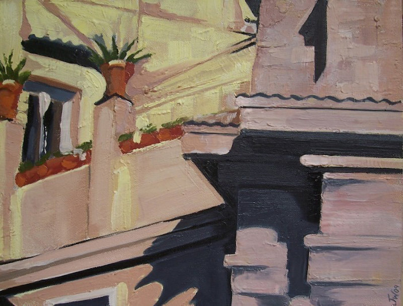 (CreativeWork) Terrace Garden by Janelle White. oil-painting. Shop online at Bluethumb.