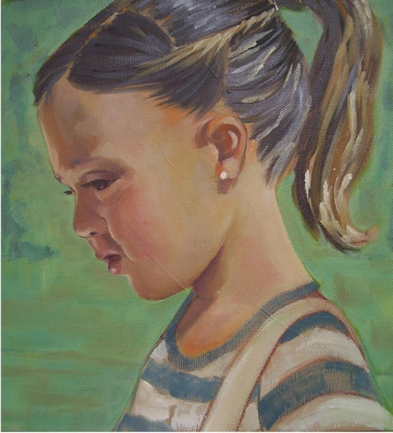 (CreativeWork) French Girl by Janelle White. oil-painting. Shop online at Bluethumb.