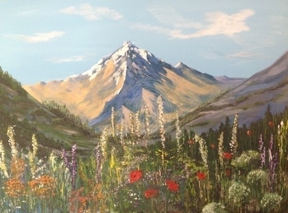 (CreativeWork) Mountain Flowers by Julia Guseva. arcylic-painting. Shop online at Bluethumb.