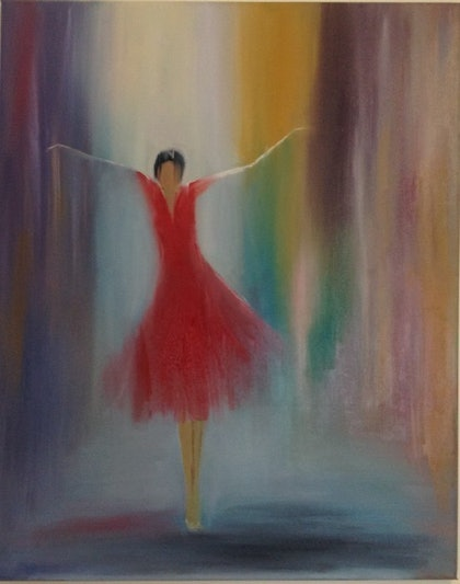(CreativeWork) Flying Dance by Julia Guseva. oil-painting. Shop online at Bluethumb.