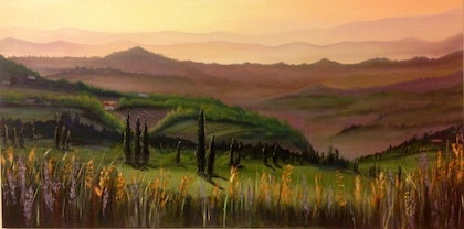 (CreativeWork) Summer Sunset by Julia Guseva. oil-painting. Shop online at Bluethumb.