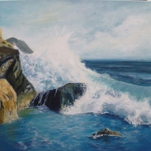 (CreativeWork) Sorrento Rocks by Sue Clark. arcylic-painting. Shop online at Bluethumb.