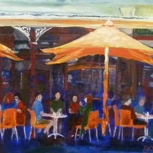 (CreativeWork) Freo Cafe by Sue Clark. arcylic-painting. Shop online at Bluethumb.