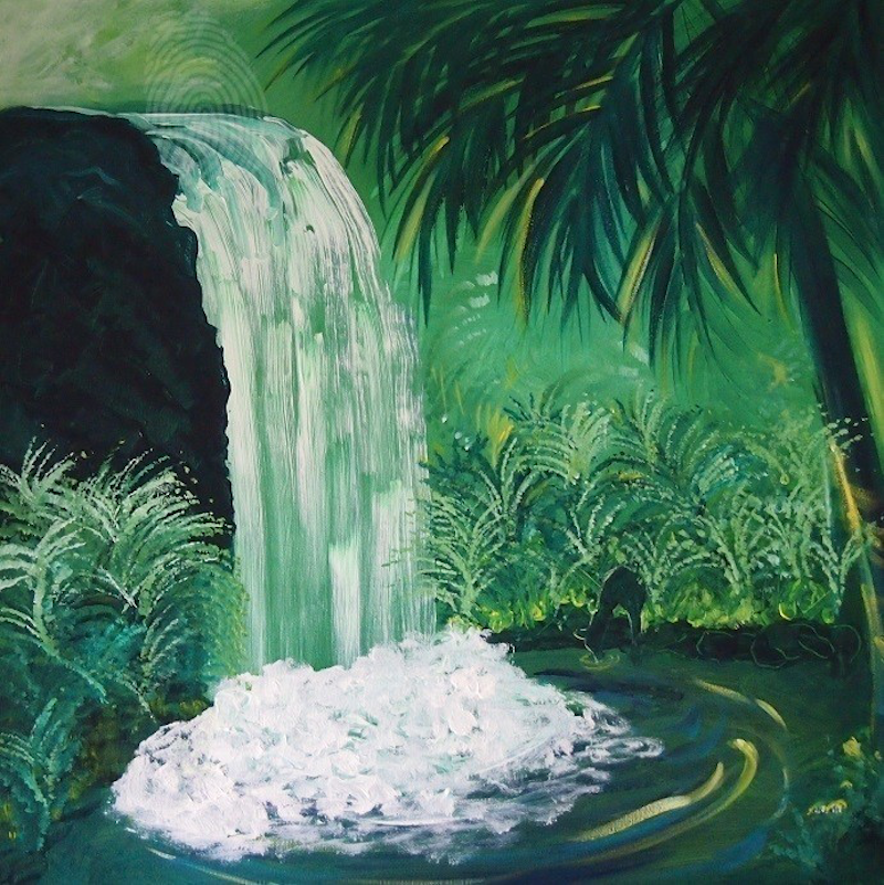 (CreativeWork) Misty Green by Nicky Korneliussen. arcylic-painting. Shop online at Bluethumb.