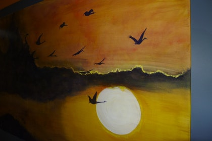 (CreativeWork) Flight through the sunset by Lyn Dultz. arcylic-painting. Shop online at Bluethumb.