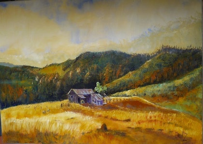 (CreativeWork) Shepards Hut Silver Hills by Lyn Dultz. arcylic-painting. Shop online at Bluethumb.