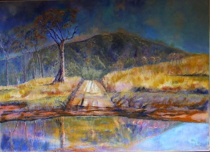 (CreativeWork) River crossing  Peel River Tamworth by Lyn Dultz. arcylic-painting. Shop online at Bluethumb.