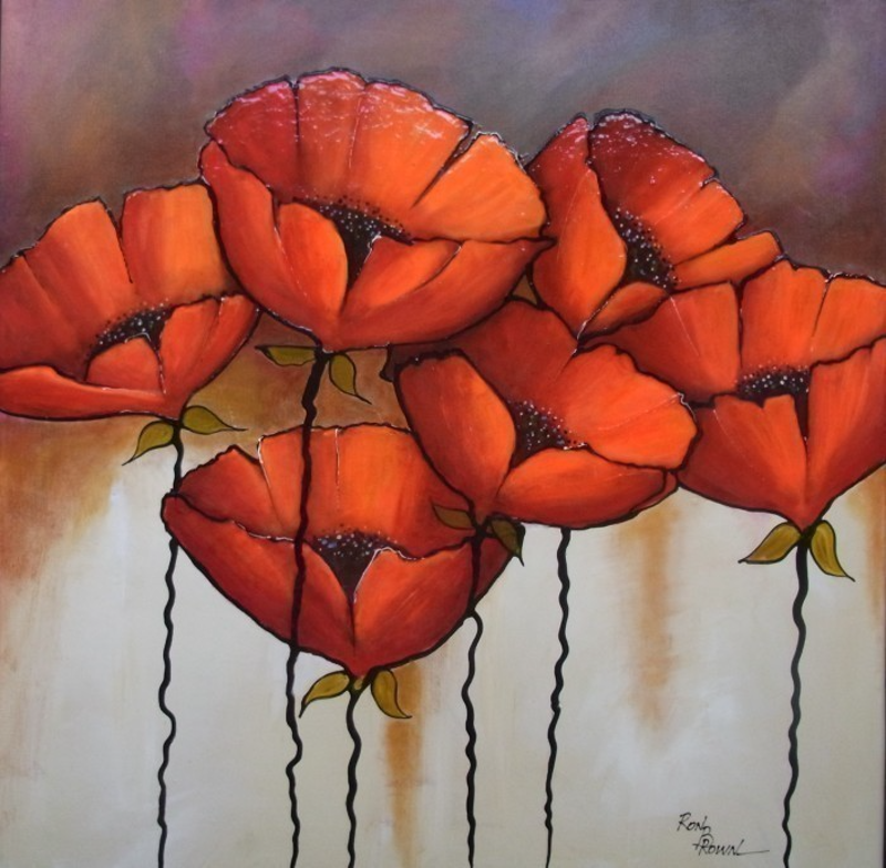 (CreativeWork) POPPIES IN BLOOM by Ron Brown. Mixed Media. Shop online at Bluethumb.
