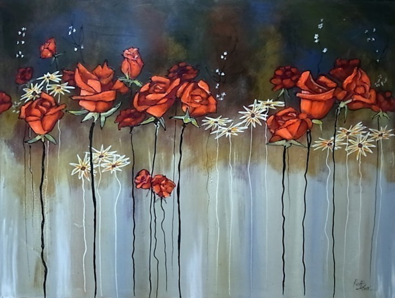 (CreativeWork) Roses are Red by Ron Brown. arcylic-painting. Shop online at Bluethumb.