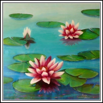 (CreativeWork) water lillies by Ron Brown. Mixed Media. Shop online at Bluethumb.