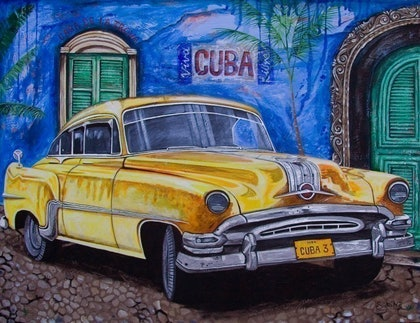 (CreativeWork) Cuban Car No.3 by Sarina Tomchin. mixed-media. Shop online at Bluethumb.