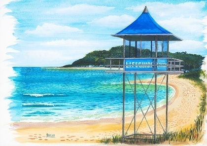 (CreativeWork) Lifeguard Hut #1' Shelly Beach by Sarina Tomchin. watercolour. Shop online at Bluethumb.
