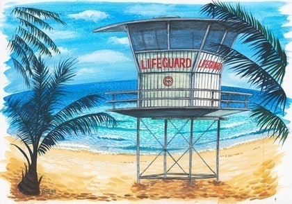 (CreativeWork) Lifeguard Hut #2' Sunset Beach by Sarina Tomchin. watercolour. Shop online at Bluethumb.