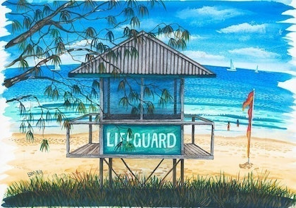 (CreativeWork) Lifeguard Hut #3' Mooloolaba by Sarina Tomchin. watercolour. Shop online at Bluethumb.