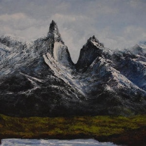 (CreativeWork) Torres del Paine.  by GEOFF WINCKLE. oil-painting. Shop online at Bluethumb.