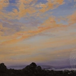 (CreativeWork) Hobart skies after Fires.  by GEOFF WINCKLE. oil-painting. Shop online at Bluethumb.