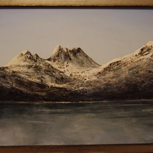 (CreativeWork) Cradle Mountain.  by GEOFF WINCKLE. oil-painting. Shop online at Bluethumb.