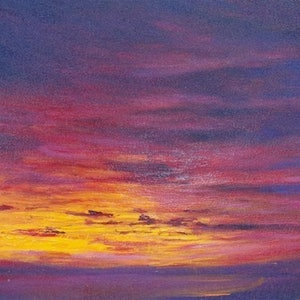 (CreativeWork) Sunrise from Dynnyrne.  by GEOFF WINCKLE. oil-painting. Shop online at Bluethumb.