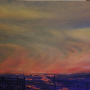 (CreativeWork) Ventian Red sky by GEOFF WINCKLE. oil-painting. Shop online at Bluethumb.