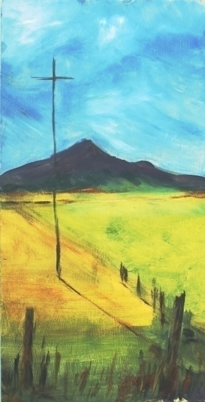 (CreativeWork) The Old telegraph Line by robyn Sharp. oil-painting. Shop online at Bluethumb.