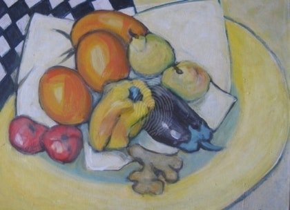 (CreativeWork) Still Life - The Yellow Platter by Coral Saunders. arcylic-painting. Shop online at Bluethumb.