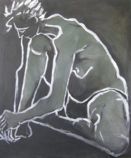 (CreativeWork) Figure Study - Male by Coral Saunders. arcylic-painting. Shop online at Bluethumb.
