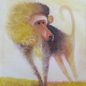 (CreativeWork) Golden baboon by John Graham. oil-painting. Shop online at Bluethumb.