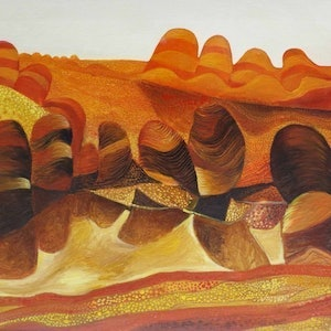 (CreativeWork) Desert lagoon by John Graham. oil-painting. Shop online at Bluethumb.