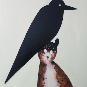 (CreativeWork) Cat and crow by John Graham. oil-painting. Shop online at Bluethumb.