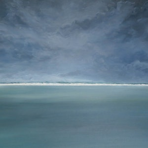 (CreativeWork) Flat sea stormy sky by John Graham. oil-painting. Shop online at Bluethumb.
