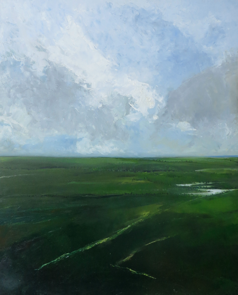 (CreativeWork) Landscape in green by John Graham. oil-painting. Shop online at Bluethumb.