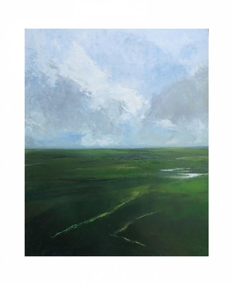 (CreativeWork) Landscape in green by John Graham. Oil Paint. Shop online at Bluethumb.