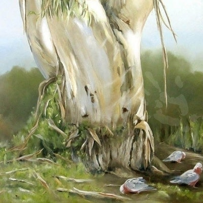 (CreativeWork) Big Old Shady Gum Tree by Jacqui Cleijne. oil-painting. Shop online at Bluethumb.
