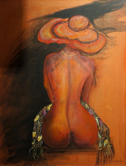 (CreativeWork) Nude with Hat and Scarf by Irena Grant-Koch. arcylic-painting. Shop online at Bluethumb.
