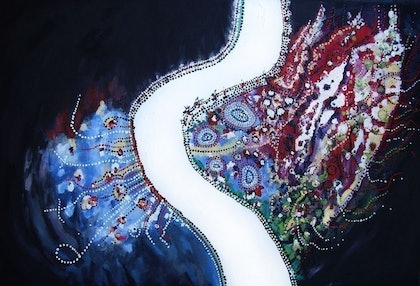 (CreativeWork) River 1 by Virtue Fern. oil-painting. Shop online at Bluethumb.