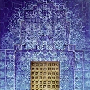 (CreativeWork) Blue Door: Morocco by Zach Wong. arcylic-painting. Shop online at Bluethumb.