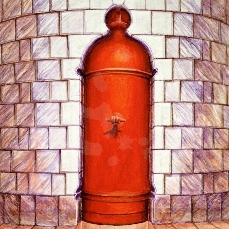 (CreativeWork) Red Door: Postal by Zach Wong. arcylic-painting. Shop online at Bluethumb.