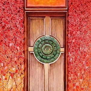 (CreativeWork) Red Door: Barcelona by Zach Wong. arcylic-painting. Shop online at Bluethumb.