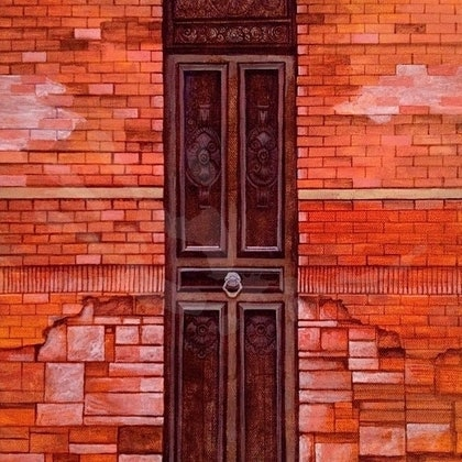 (CreativeWork) Red Door: Richmond by Zach Wong. arcylic-painting. Shop online at Bluethumb.