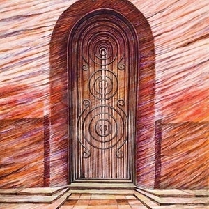 (CreativeWork) Red Door: Wood Grain by Zach Wong. arcylic-painting. Shop online at Bluethumb.