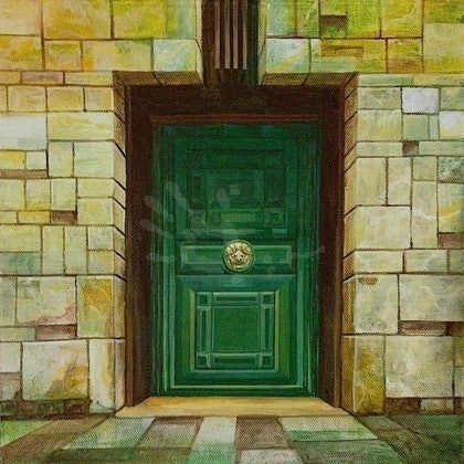 (CreativeWork) Green Door: Treasury by Zach Wong. arcylic-painting. Shop online at Bluethumb.