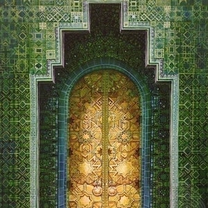 (CreativeWork) Green Door: Moroccan by Zach Wong. arcylic-painting. Shop online at Bluethumb.