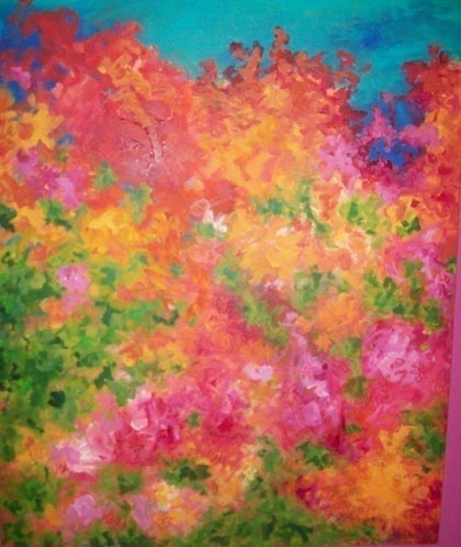 (CreativeWork) rainbow blossoms by karuna tohow. arcylic-painting. Shop online at Bluethumb.