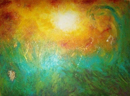 (CreativeWork) Ocean sun by karuna tohow. arcylic-painting. Shop online at Bluethumb.
