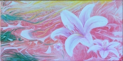 (CreativeWork) Lilies by Leanne Kruger. arcylic-painting. Shop online at Bluethumb.