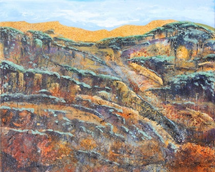 (CreativeWork) Gold Mounton by Garrie Clark. arcylic-painting. Shop online at Bluethumb.