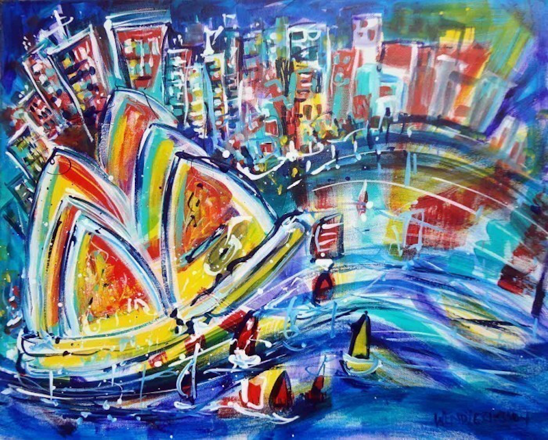 (CreativeWork) Sydney Night Life by Wendy Eriksson. mixed-media. Shop online at Bluethumb.