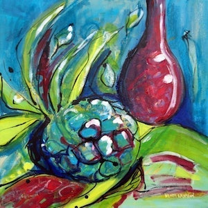 (CreativeWork) Vase and Pineapple by Wendy Eriksson. mixed-media. Shop online at Bluethumb.